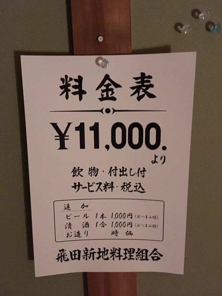 2020年最新版! 大阪のメイン新地の最新料金表